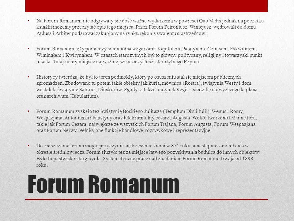 Forum Romanum Na Forum Romanum nie odgrywały się dość ważne wydarzenia w powieści Quo Vadis jednak na początku książki możemy przeczytać opis tego mie