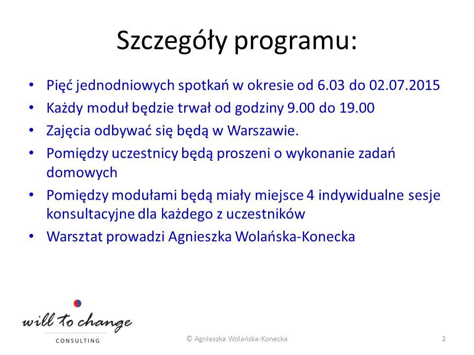 Szczegóły programu: Pięć jednodniowych spotkań w okresie od 6.03 do 02.07.2015 Każdy moduł będzie trwał od godziny 9.00 do 19.00 Zajęcia odbywać się b