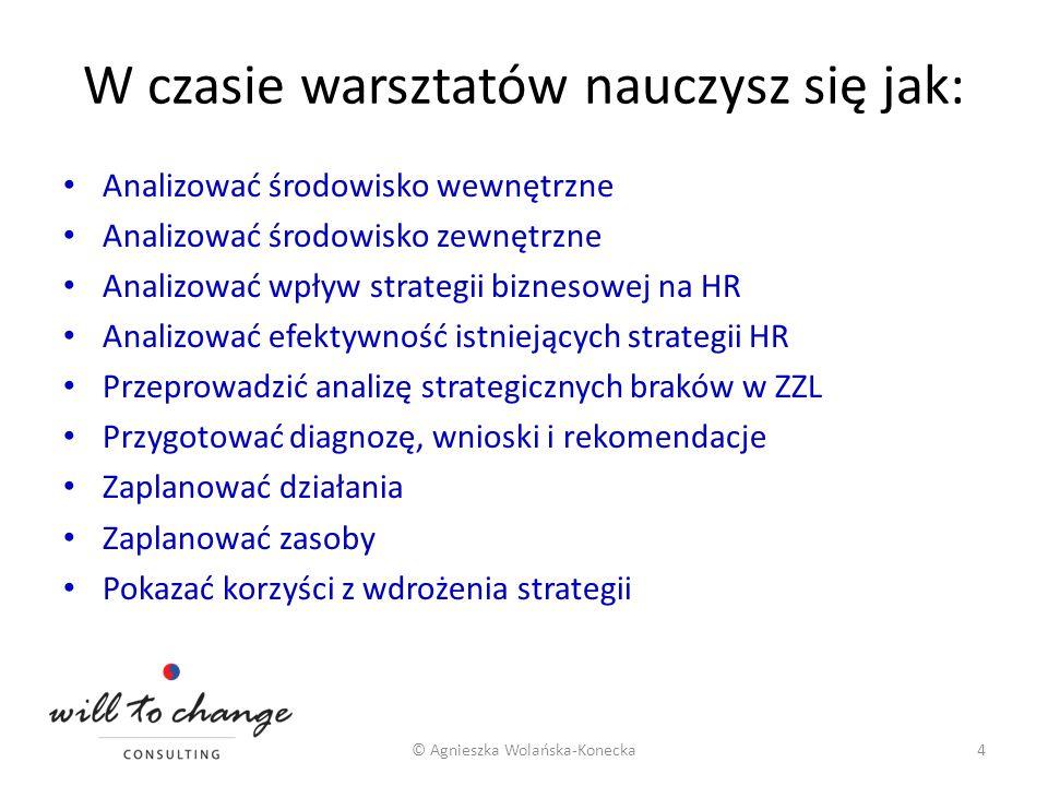 W czasie warsztatów nauczysz się jak: Analizować środowisko wewnętrzne Analizować środowisko zewnętrzne Analizować wpływ strategii biznesowej na HR An