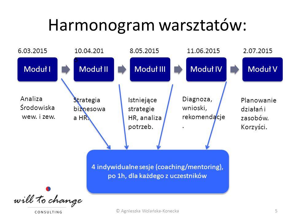 Harmonogram warsztatów: Moduł IModuł IIModuł IIIModuł IVModuł V © Agnieszka Wolańska-Konecka5 6.03.201510.04.201 5 8.05.201511.06.20152.07.2015 Analiz