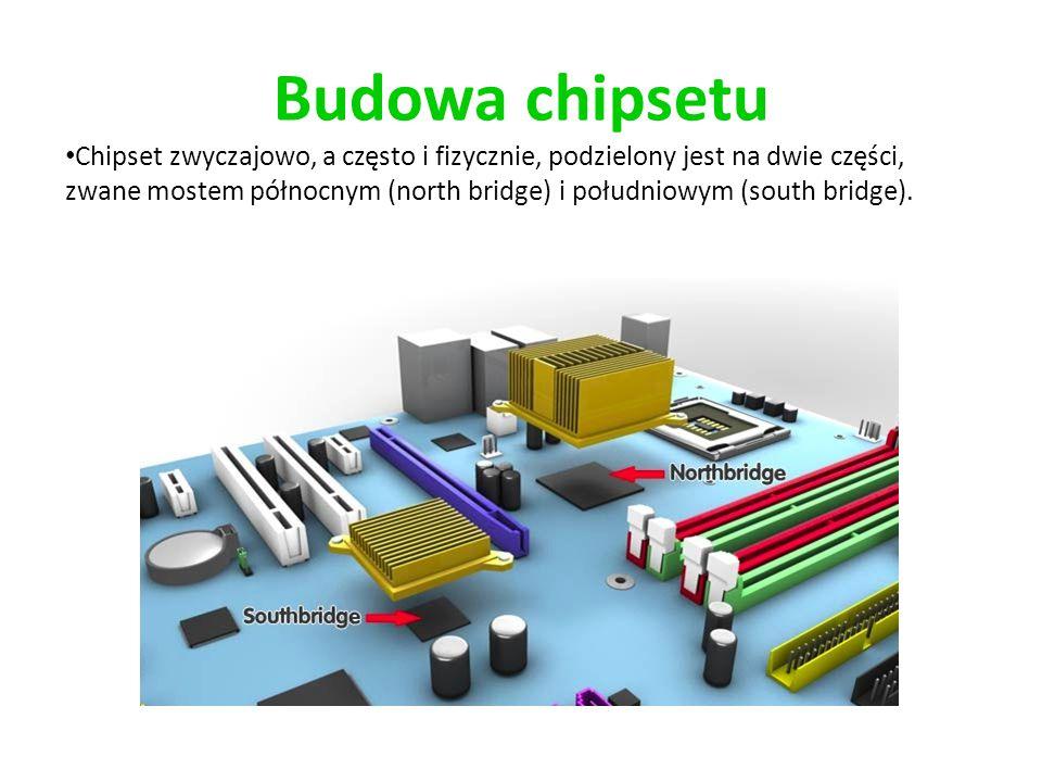Budowa chipsetu Chipset zwyczajowo, a często i fizycznie, podzielony jest na dwie części, zwane mostem północnym (north bridge) i południowym (south b