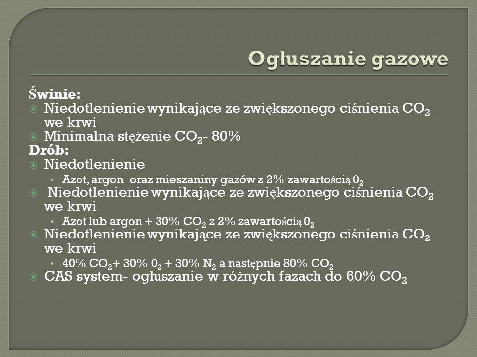 Ś winie:  Niedotlenienie wynikaj ą ce ze zwi ę kszonego ci ś nienia CO 2 we krwi  Minimalna st ęż enie CO 2 - 80% Drób:  Niedotlenienie Azot, argon oraz mieszaniny gazów z 2% zawarto ś ci ą 0 2  Niedotlenienie wynikaj ą ce ze zwi ę kszonego ci ś nienia CO 2 we krwi Azot lub argon + 30% CO 2 z 2% zawarto ś ci ą 0 2  Niedotlenienie wynikaj ą ce ze zwi ę kszonego ci ś nienia CO 2 we krwi 40% CO 2 + 30% 0 2 + 30% N 2 a nast ę pnie 80% CO 2  CAS system- og ł uszanie w ró ż nych fazach do 60% CO 2