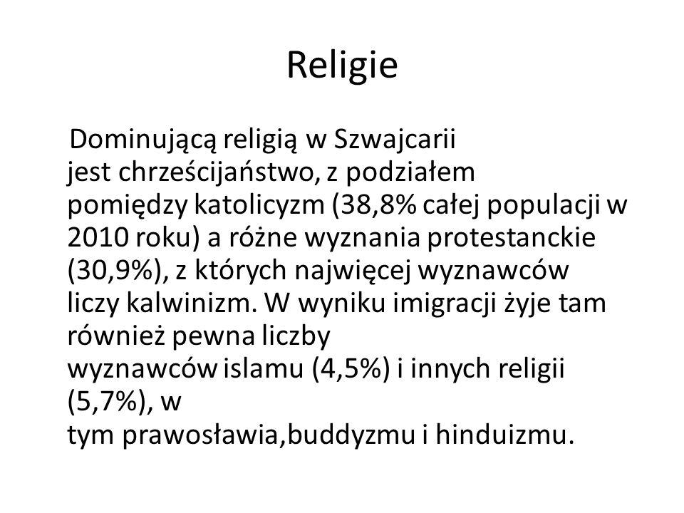 Religie Dominującą religią w Szwajcarii jest chrześcijaństwo, z podziałem pomiędzy katolicyzm (38,8% całej populacji w 2010 roku) a różne wyznania pro