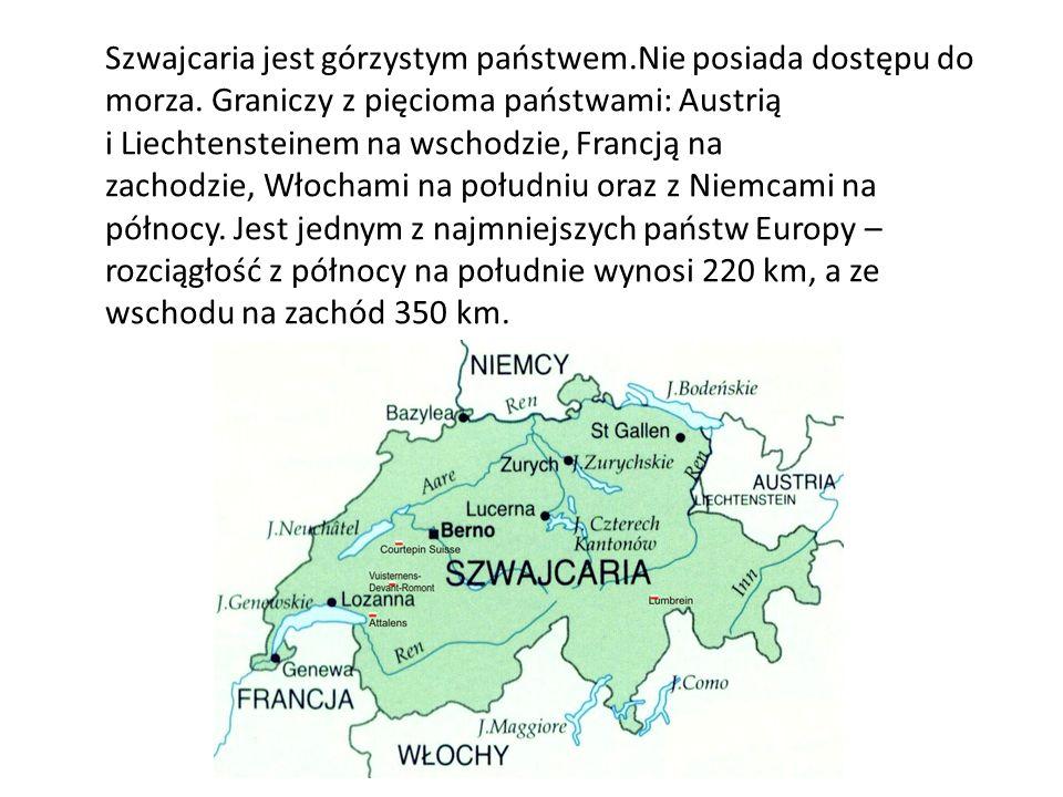 Szwajcaria jest górzystym państwem.Nie posiada dostępu do morza. Graniczy z pięcioma państwami: Austrią i Liechtensteinem na wschodzie, Francją na zac