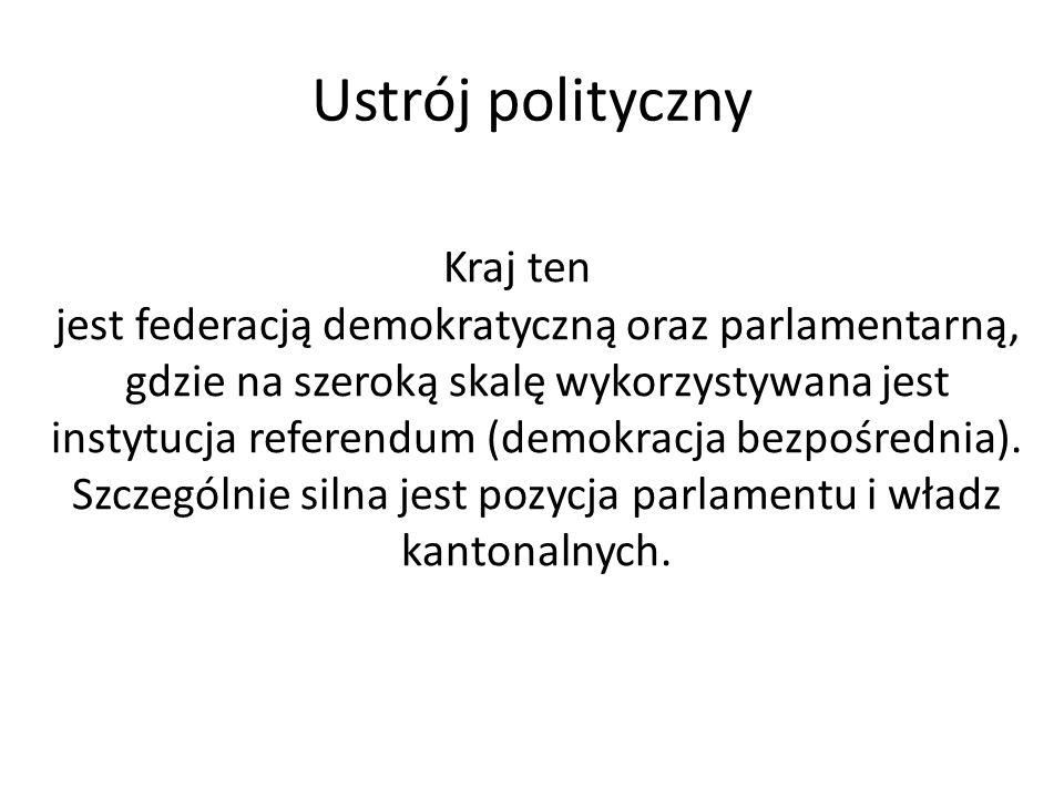 Ustrój polityczny Kraj ten jest federacją demokratyczną oraz parlamentarną, gdzie na szeroką skalę wykorzystywana jest instytucja referendum (demokrac