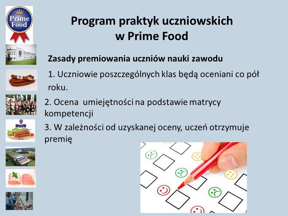 Program praktyk uczniowskich w Prime Food Zasady premiowania uczniów nauki zawodu 1. Uczniowie poszczególnych klas będą oceniani co pół roku. 2. Ocena