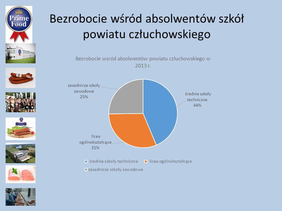 Bezrobocie wśród absolwentów powiatu człuchowskiego Najwięcej bezrobotnych wśród absolwentów było w zawodach: kucharz małej gastronomii ponad 11% technik informatyk -32% technik ekonomista -28,9% sprzedawca 38,2% techników żywienia i gospodarstwa domowego 35,5% Uwaga.