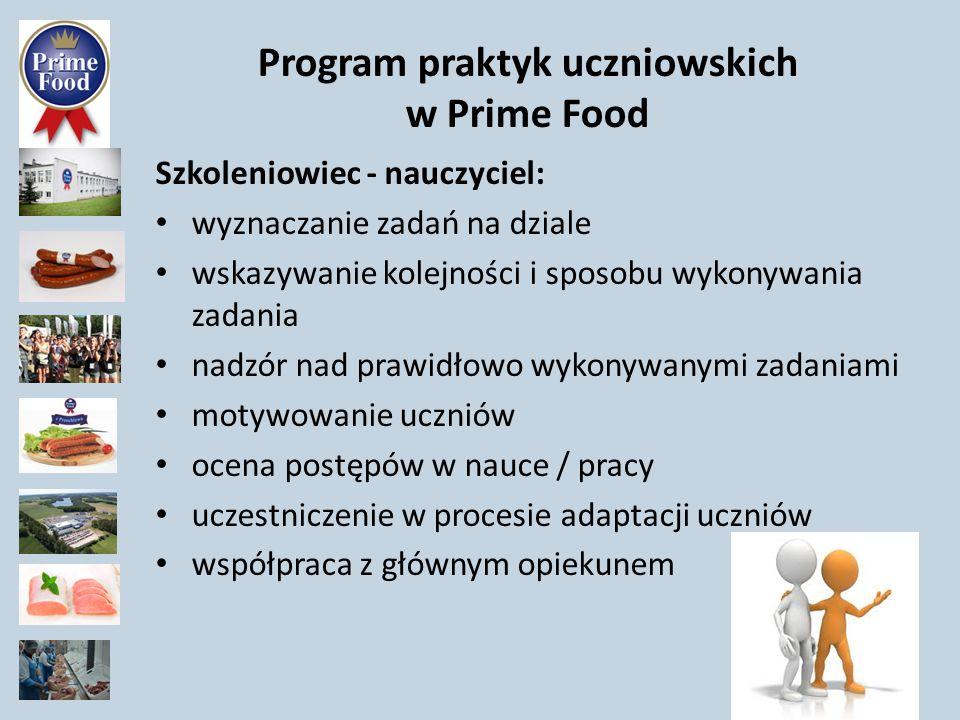 Program praktyk uczniowskich w Prime Food Główny opiekun- wychowawca: odpowiedzialność za wszystkich uczniów ze wszystkich klas/działów odpowiedzialność za proces adaptacji uczniów odpowiedzialność za system ocenianie uczniów koordynowanie opiekunów na działach współpraca ze szkołą, dostęp do dziennika elektronicznego współpraca z rodzicami uczniów ( dostęp do nr tel rodzica) współpraca z działem kadr PF rozliczanie czasu pracy uczniów