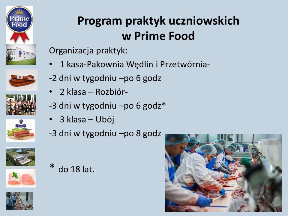Program praktyk uczniowskich w Prime Food Organizacja praktyk: 1 kasa-Pakownia Wędlin i Przetwórnia- -2 dni w tygodniu –po 6 godz 2 klasa – Rozbiór- -