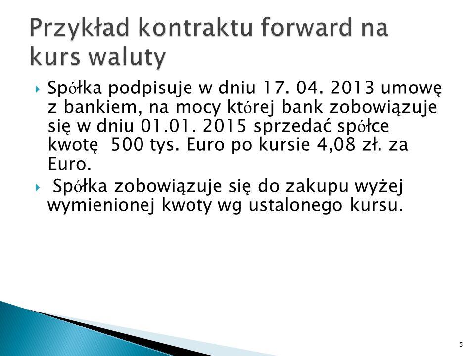  Sp ó łka podpisuje w dniu 17. 04. 2013 umowę z bankiem, na mocy kt ó rej bank zobowiązuje się w dniu 01.01. 2015 sprzedać sp ó łce kwotę 500 tys. Eu