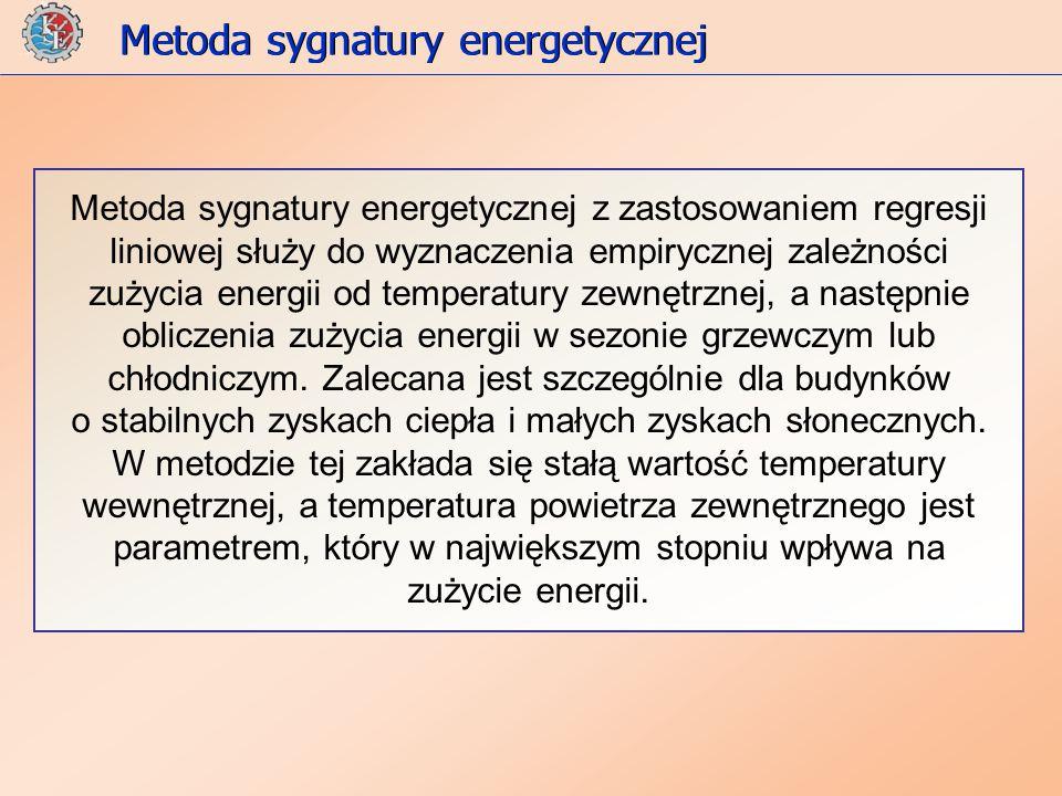 Metoda sygnatury energetycznej z zastosowaniem regresji liniowej służy do wyznaczenia empirycznej zależności zużycia energii od temperatury zewnętrznej, a następnie obliczenia zużycia energii w sezonie grzewczym lub chłodniczym.