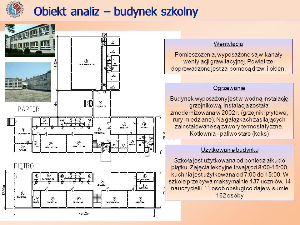 Obiekt analiz – budynek szkolny Wentylacja Pomieszczenia, wyposażone są w kanały wentylacji grawitacyjnej.