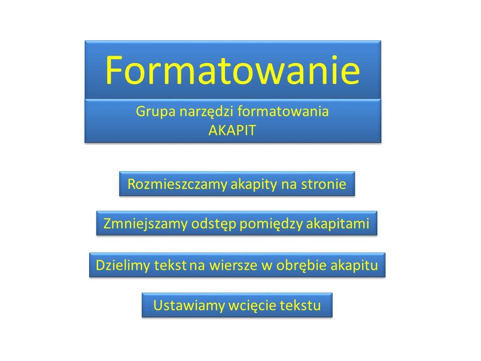 Rozmieszczamy akapity na stronie Zmniejszamy odstęp pomiędzy akapitami Dzielimy tekst na wiersze w obrębie akapitu Ustawiamy wcięcie tekstu Formatowanie Grupa narzędzi formatowania AKAPIT Grupa narzędzi formatowania AKAPIT
