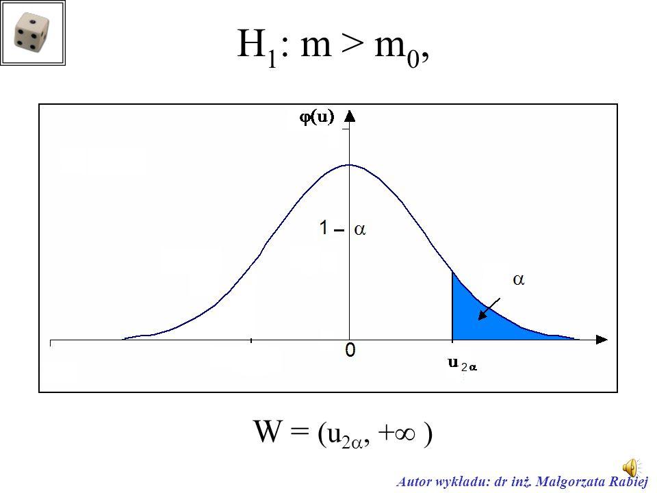 Autor wykładu: dr inż. Małgorzata Rabiej H 1 : m  m 0 obszar dwustronny W =(- , -u  )  ( u ,  )