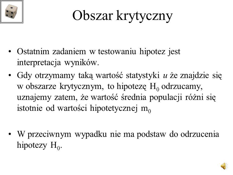 Autor wykładu: dr inż. Małgorzata Rabiej Obszar krytyczny lewostronny H 1 : m < m 0, W = (- , - u 2  )