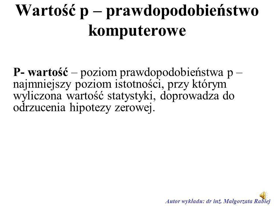 Autor wykładu: dr inż. Małgorzata Rabiej Obszar krytyczny prawostronny H 1 : m > m 0 Prawostronny obszar krytyczny W = (t 2 , +  )