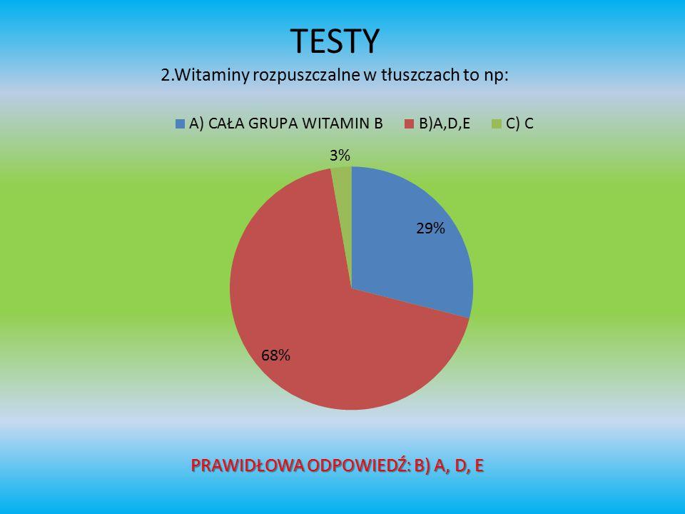 TESTY 2.Witaminy rozpuszczalne w tłuszczach to np: PRAWIDŁOWA ODPOWIEDŹ: B) A, D, E