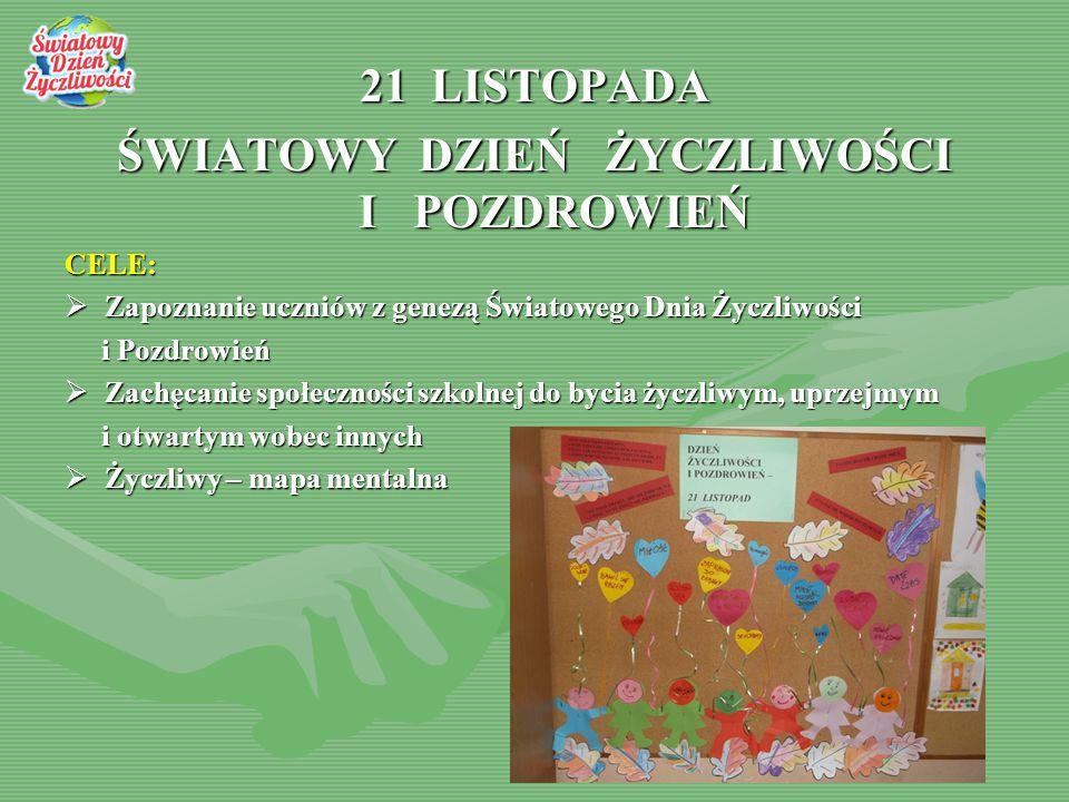 21 LISTOPADA ŚWIATOWY DZIEŃ ŻYCZLIWOŚCI I POZDROWIEŃ CELE:  Zapoznanie uczniów z genezą Światowego Dnia Życzliwości i Pozdrowień i Pozdrowień  Zachę