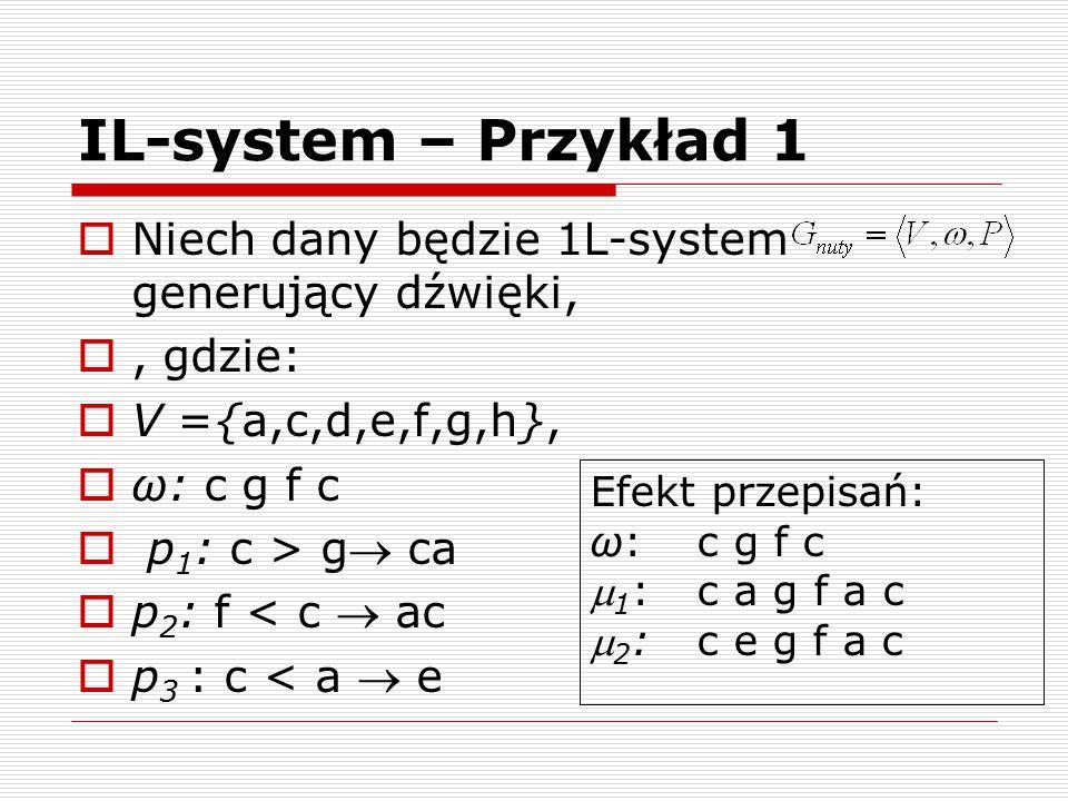 IL-system – Przykład 1  Niech dany będzie 1L-system generujący dźwięki, , gdzie:  V ={a,c,d,e,f,g,h},  ω: c g f c  p 1 : c > g ca  p 2 : f < c