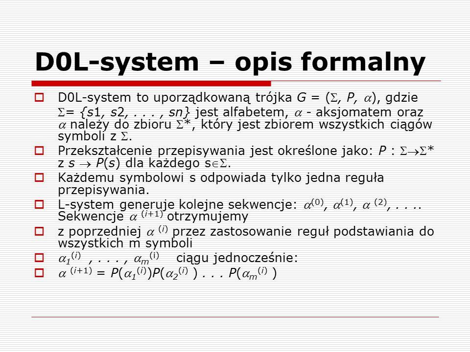 D0L-system – opis formalny  D0L-system to uporządkowaną trójka G = (, P, ), gdzie = {s1, s2,..., sn} jest alfabetem,  - aksjomatem oraz  należy