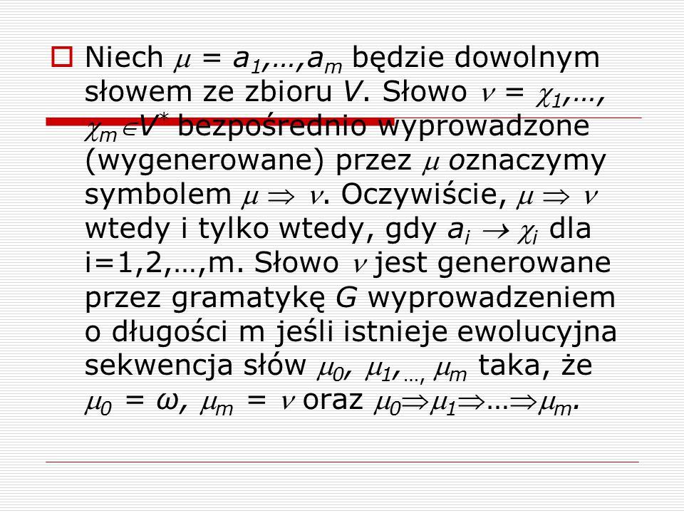 Definicja rekurencyjna  Rozważmy DOL-system G = i aV i nn oznaczmy µ (n) jako słowo wyprowadzone z µ w wyprowadzeniu o długości n:  Jeśli µb 1 b 2 …b m jest produkcją w G, to dla każdego n1 słowo µ (n) spełnia formułę rekurencyjną: µ (n) =b 1 (n-1) b 2 (n-1) …b m (n-1)  Rozłóżmy derywację na pierwszy krok i pozostałe n-1 kroków:  Wtedy µ (n) =b 1 (n-1) b 2 (n-1) …b m (n-1).