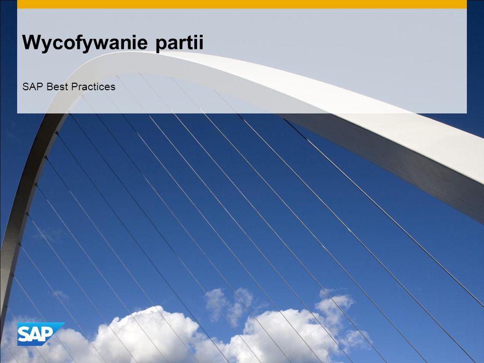 Wycofywanie partii SAP Best Practices