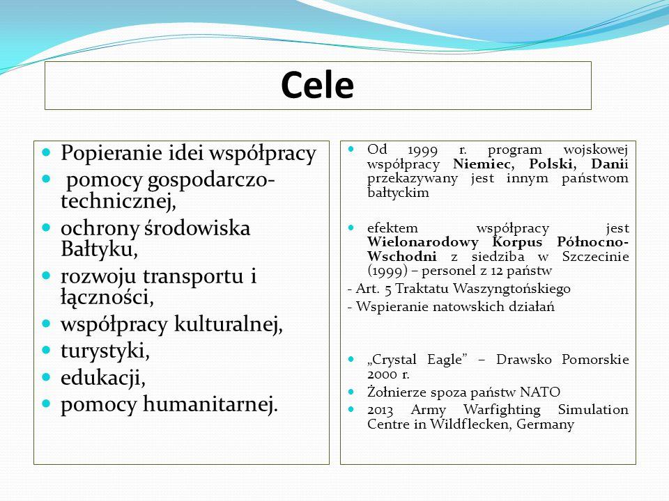 Cele Popieranie idei współpracy pomocy gospodarczo- technicznej, ochrony środowiska Bałtyku, rozwoju transportu i łączności, współpracy kulturalnej, t
