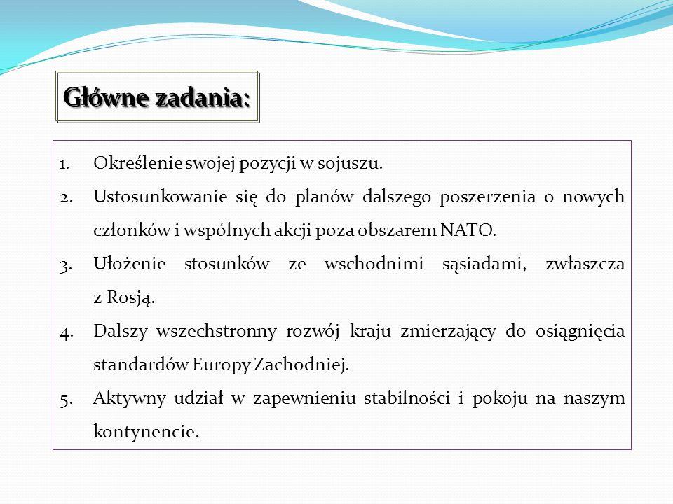 1.Określenie swojej pozycji w sojuszu. 2.Ustosunkowanie się do planów dalszego poszerzenia o nowych członków i wspólnych akcji poza obszarem NATO. 3.U