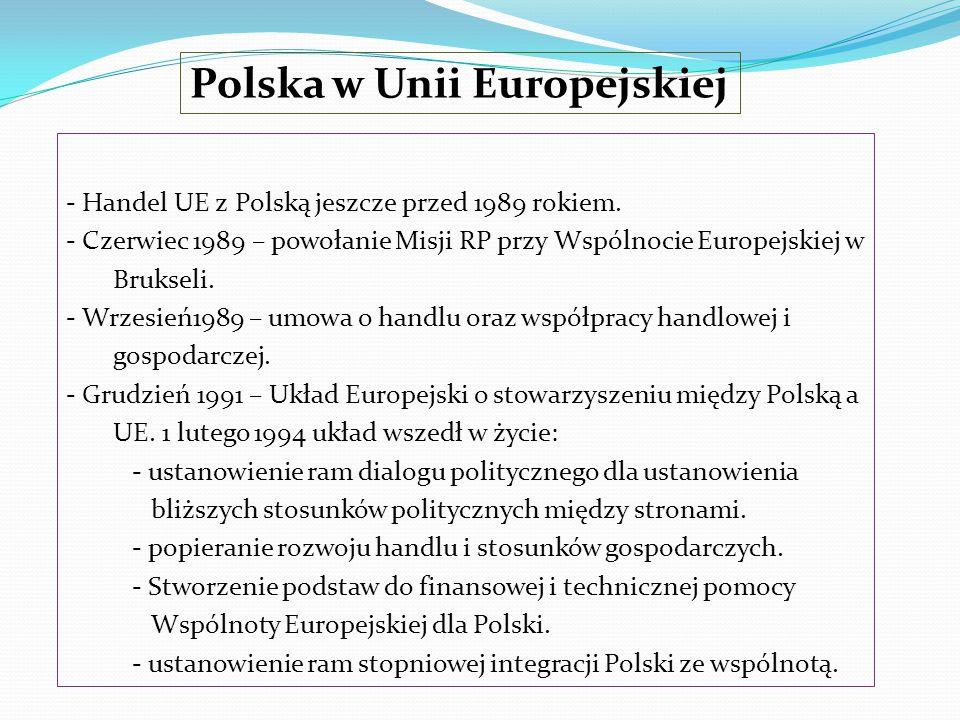 Polska w Unii Europejskiej - Handel UE z Polską jeszcze przed 1989 rokiem. - Czerwiec 1989 – powołanie Misji RP przy Wspólnocie Europejskiej w Bruksel