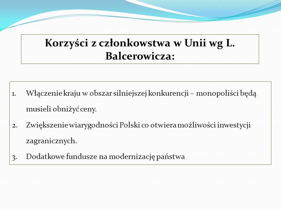 1.Włączenie kraju w obszar silniejszej konkurencji – monopoliści będą musieli obniżyć ceny. 2.Zwiększenie wiarygodności Polski co otwiera możliwości i