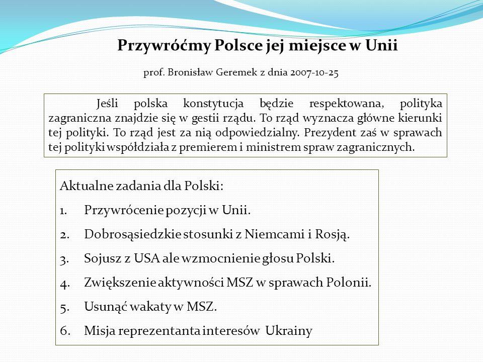 Przywróćmy Polsce jej miejsce w Unii prof. Bronisław Geremek z dnia 2007-10-25 Jeśli polska konstytucja będzie respektowana, polityka zagraniczna znaj