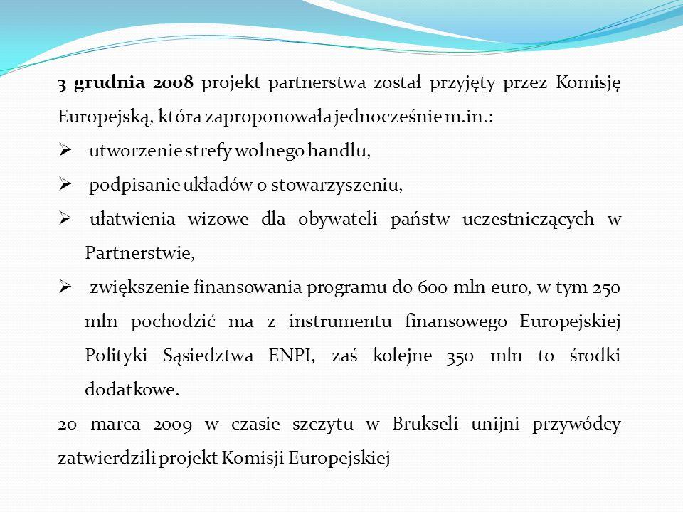 3 grudnia 2008 projekt partnerstwa został przyjęty przez Komisję Europejską, która zaproponowała jednocześnie m.in.:  utworzenie strefy wolnego handl