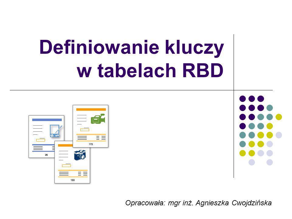 Plan prezentacji Co to jest i do czego służy klucz w tabeli Przegląd kluczy klucz podstawowy (klucz główny, klucz pierwotny), klucz sztuczny, klucz obcy Przykłady kluczy tworzenie kluczy w tabelach MS Access