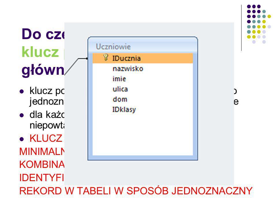 Do czego służy klucz podstawowy (klucz główny, klucz pierwotny) klucz podstawowy to pole tabeli, które służy do jednoznacznego zdefiniowania rekordu w
