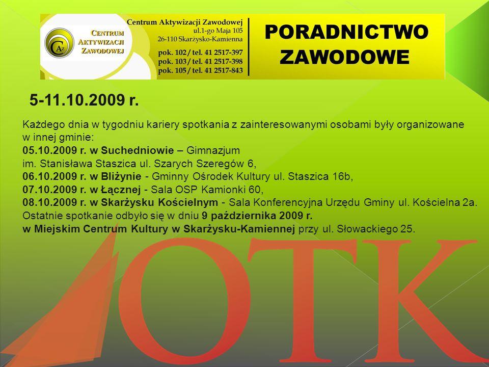 5-11.10.2009 r. Każdego dnia w tygodniu kariery spotkania z zainteresowanymi osobami były organizowane w innej gminie: 05.10.2009 r. w Suchedniowie –