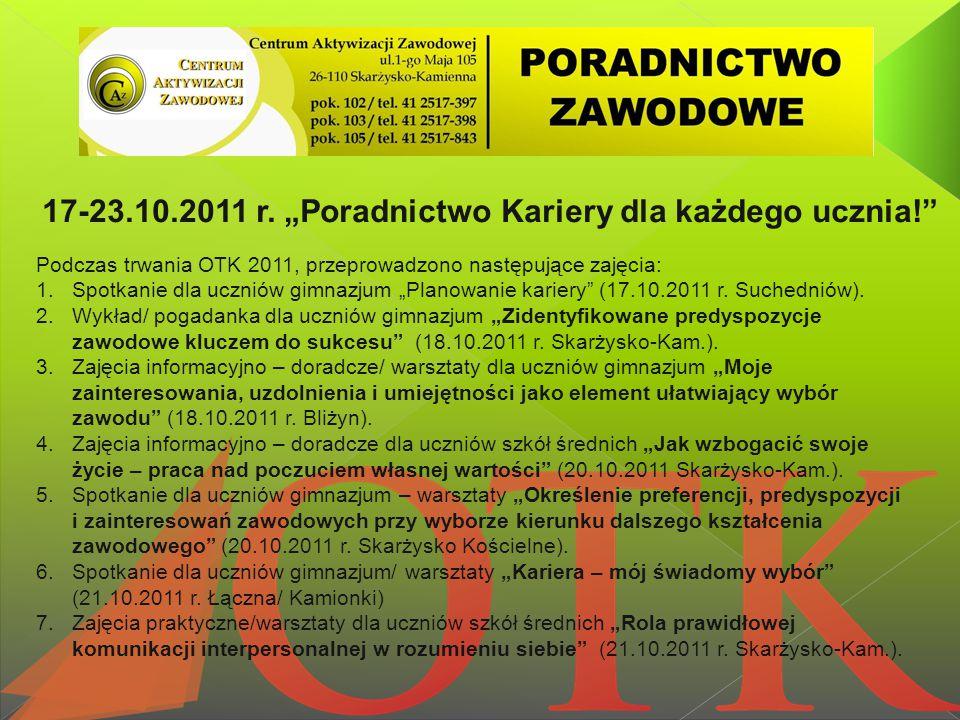 """17-23.10.2011 r. """"Poradnictwo Kariery dla każdego ucznia!"""" Podczas trwania OTK 2011, przeprowadzono następujące zajęcia: 1.Spotkanie dla uczniów gimna"""