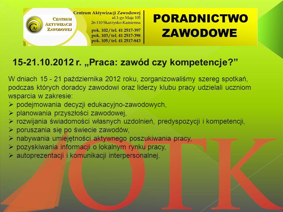 """15-21.10.2012 r. """"Praca: zawód czy kompetencje?"""" W dniach 15 - 21 października 2012 roku, zorganizowaliśmy szereg spotkań, podczas których doradcy zaw"""