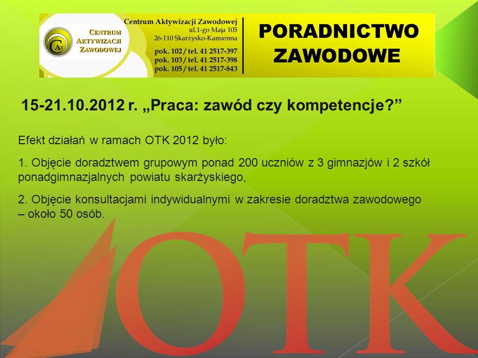 Efekt działań w ramach OTK 2012 było: 1. Objęcie doradztwem grupowym ponad 200 uczniów z 3 gimnazjów i 2 szkół ponadgimnazjalnych powiatu skarżyskiego