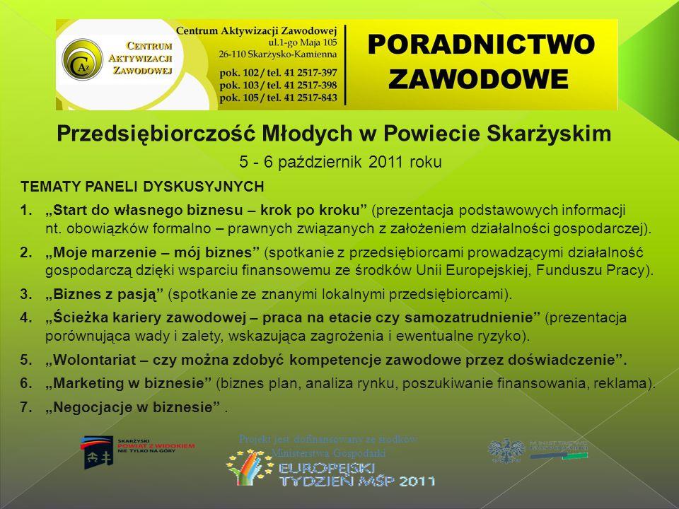 Przedsiębiorczość Młodych w Powiecie Skarżyskim 5 - 6 październik 2011 roku Projekt jest dofinansowany ze środków Ministerstwa Gospodarki TEMATY PANEL