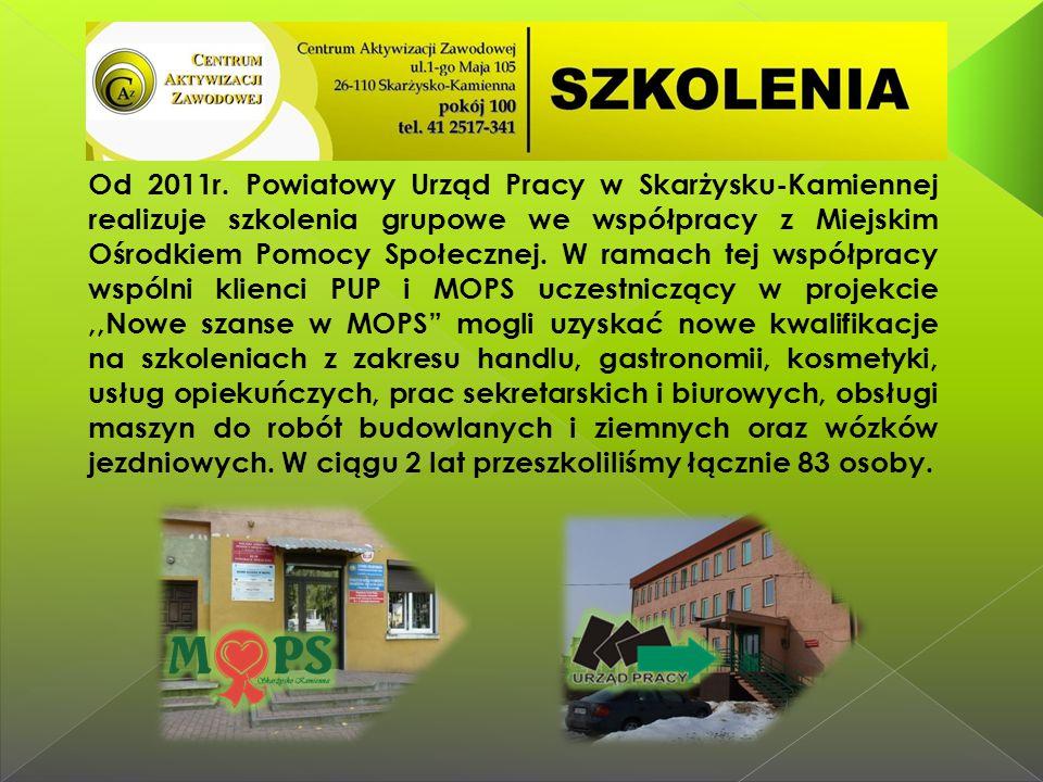 Od 2011r. Powiatowy Urząd Pracy w Skarżysku-Kamiennej realizuje szkolenia grupowe we współpracy z Miejskim Ośrodkiem Pomocy Społecznej. W ramach tej w