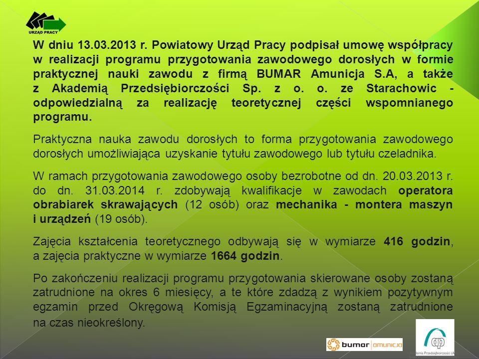 W dniu 13.03.2013 r. Powiatowy Urząd Pracy podpisał umowę współpracy w realizacji programu przygotowania zawodowego dorosłych w formie praktycznej nau