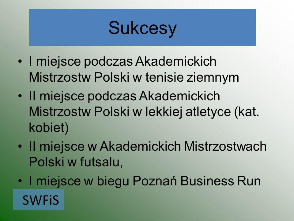 Sukcesy I miejsce podczas Akademickich Mistrzostw Polski w tenisie ziemnym II miejsce podczas Akademickich Mistrzostw Polski w lekkiej atletyce (kat.