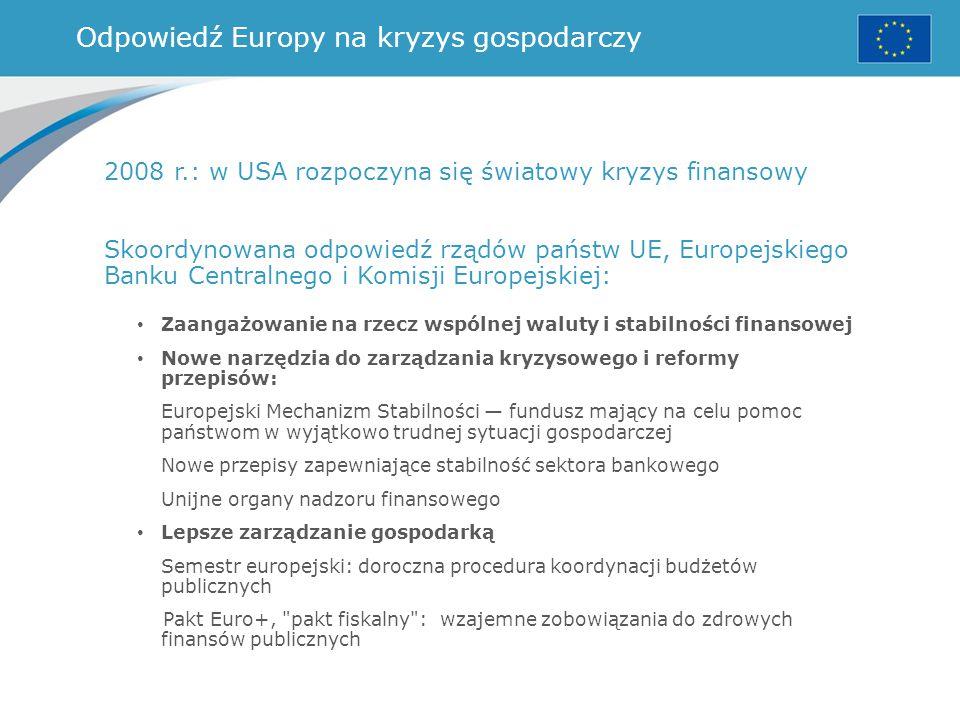 Odpowiedź Europy na kryzys gospodarczy 2008 r.: w USA rozpoczyna się światowy kryzys finansowy Skoordynowana odpowiedź rządów państw UE, Europejskiego