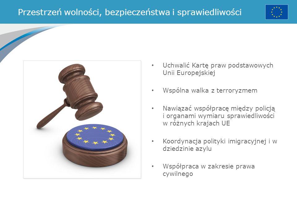 Przestrzeń wolności, bezpieczeństwa i sprawiedliwości Uchwalić Kartę praw podstawowych Unii Europejskiej Wspólna walka z terroryzmem Nawiązać współpra