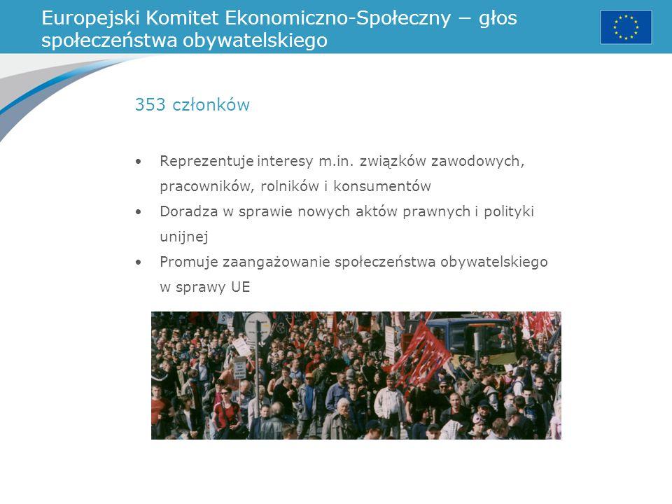Europejski Komitet Ekonomiczno-Społeczny − głos społeczeństwa obywatelskiego Reprezentuje interesy m.in. związków zawodowych, pracowników, rolników i
