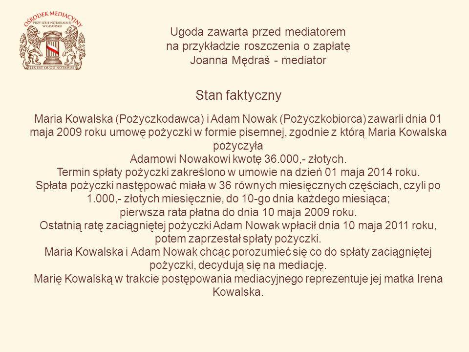 Ugoda zawarta przed mediatorem na przykładzie roszczenia o zapłatę Joanna Mędraś - mediator Stan faktyczny Maria Kowalska (Pożyczkodawca) i Adam Nowak