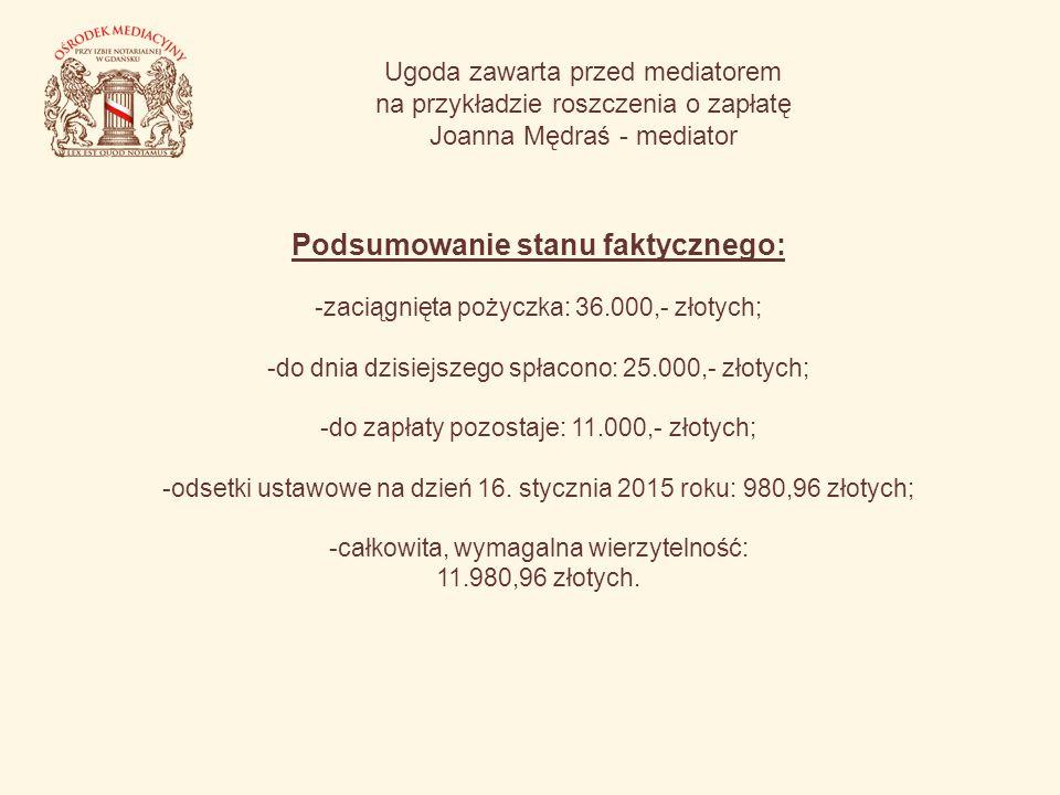 Ugoda zawarta przed mediatorem na przykładzie roszczenia o zapłatę Joanna Mędraś - mediator Podsumowanie stanu faktycznego: -zaciągnięta pożyczka: 36.