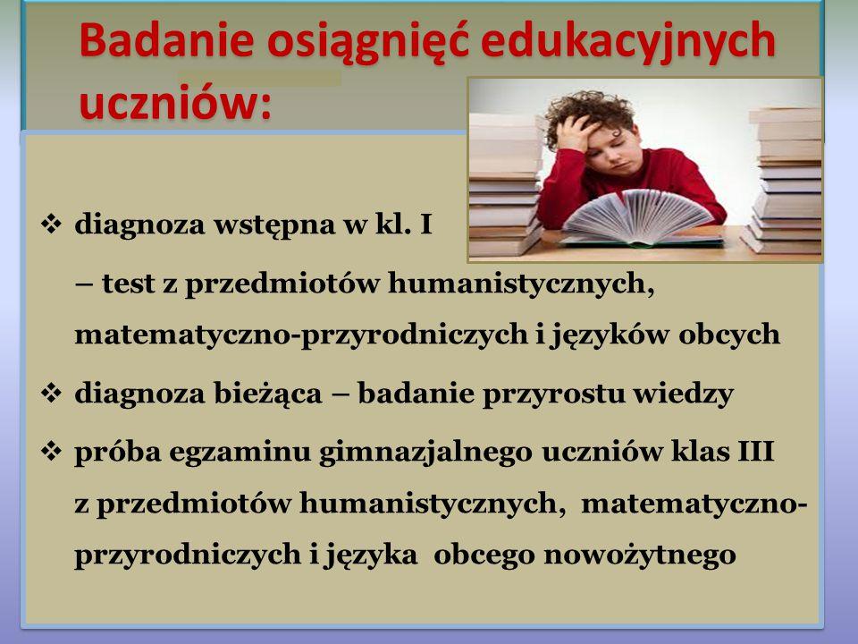 1. Działalność szkoły diagnostyczno-oceniająca a. badanie poziomu osiągnięć edukacyjnych uczniów b. zajęcia pozalekcyjne - koła zainteresowań - zajęci