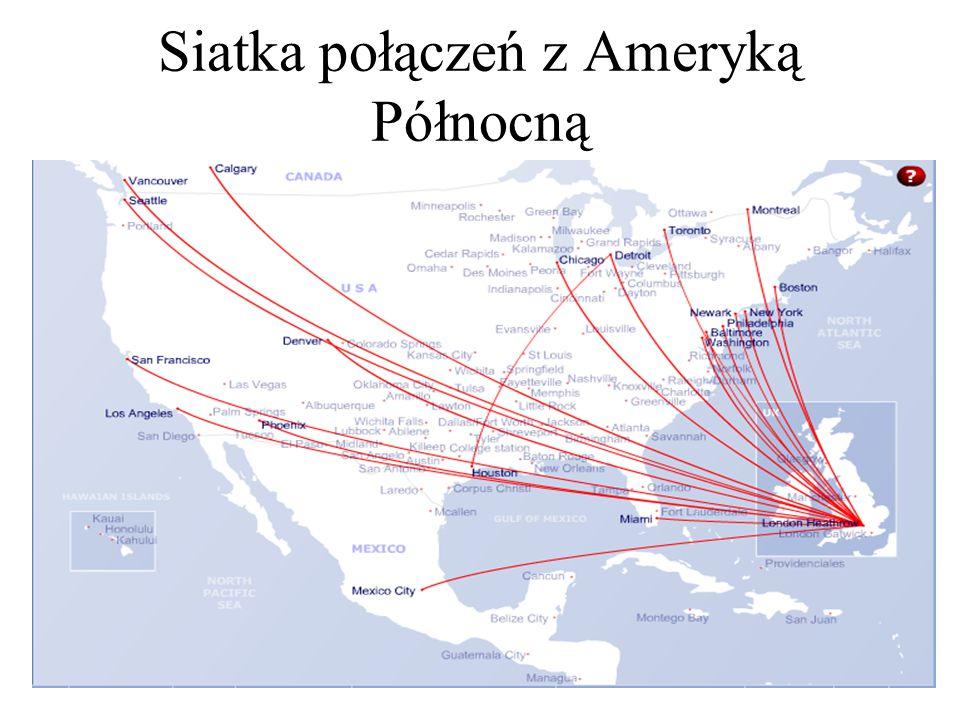 Siatka połączeń z Ameryką Północną