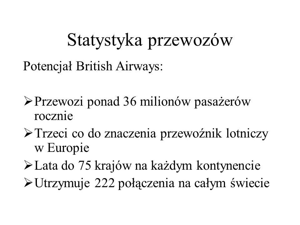 Statystyka przewozów Potencjał British Airways:  Przewozi ponad 36 milionów pasażerów rocznie  Trzeci co do znaczenia przewoźnik lotniczy w Europie  Lata do 75 krajów na każdym kontynencie  Utrzymuje 222 połączenia na całym świecie